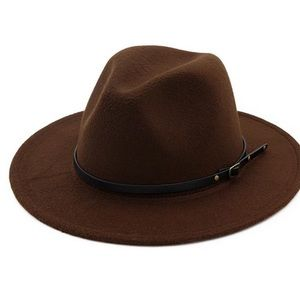 Brown Belted Fedora Hat
